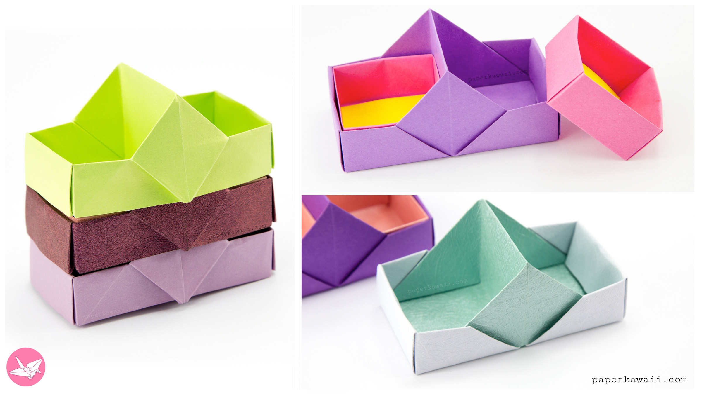 Two Sectioned Origami Tray / Box Tutorial - Paper Kawaii - photo#43