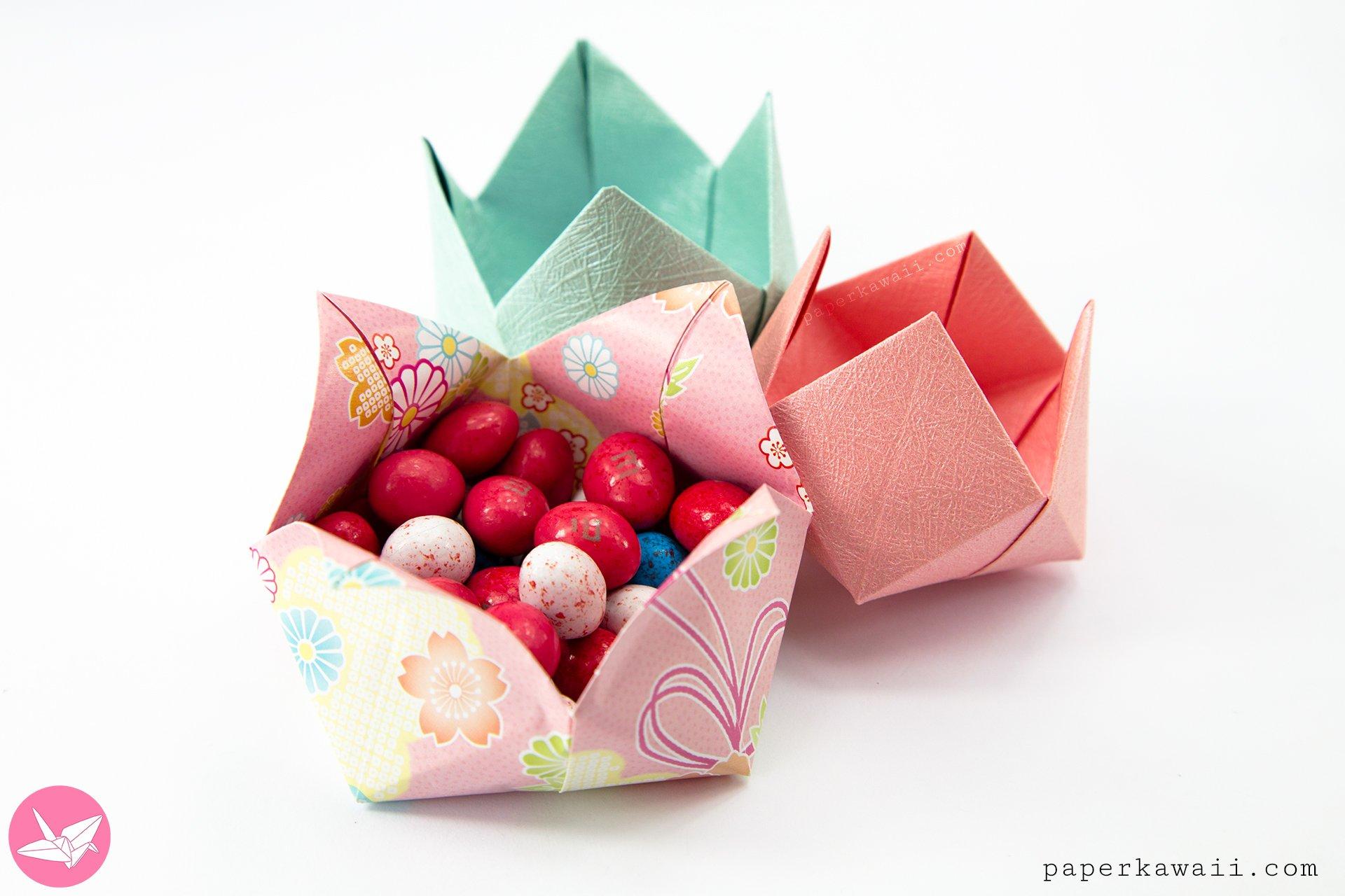 Origami Pinwheel Flower Bowl Tutorial via @paper_kawaii