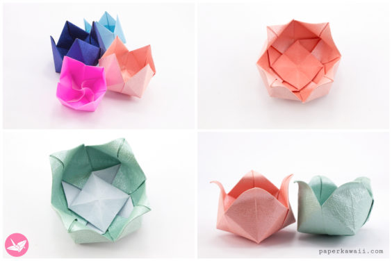 Origami Pinwheel Flower Bowl Tutorial