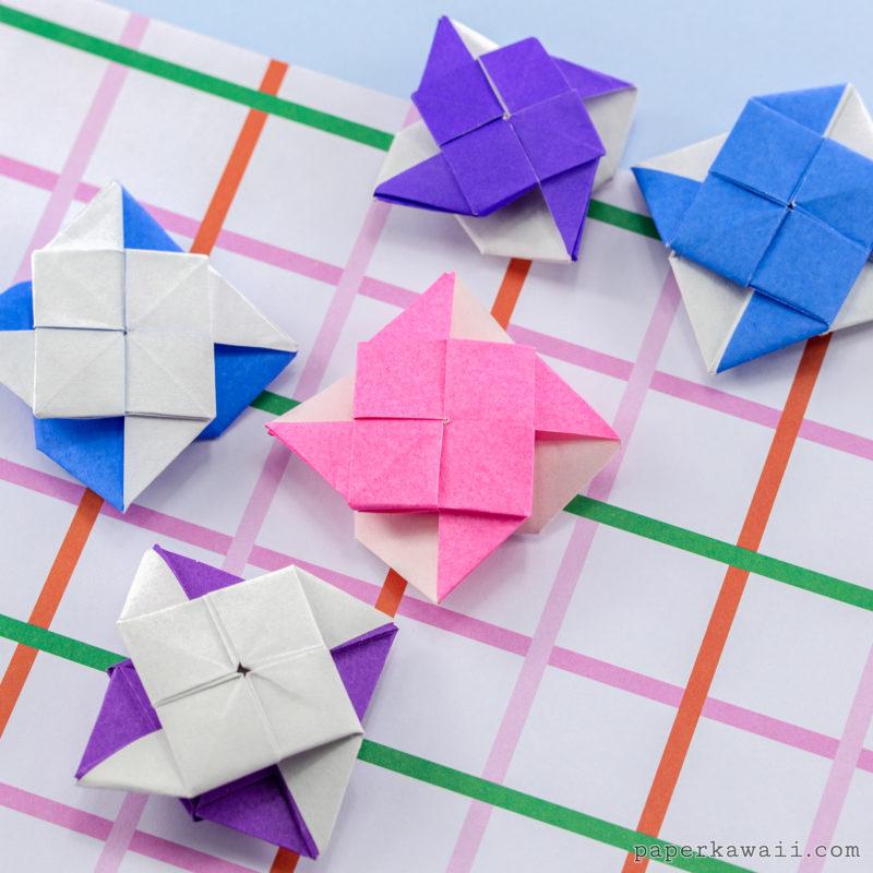 2 Sided Origami Pinwheel Tutorial via @paper_kawaii
